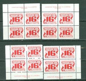 CANADA 1973 DUES #J37 PERF 12 PVA ...PLATE CORNERS SET MNH...$10.00