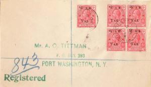Turks & Caicos Is. 1d KGV Overprinted War Tax (5) 1902 Turks Islands Register...