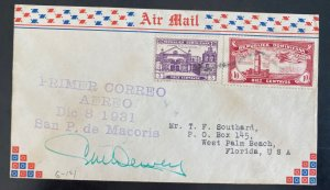 1931 Dominican Republic First Flight Airmail Cover FFC To West Palm Beach USA