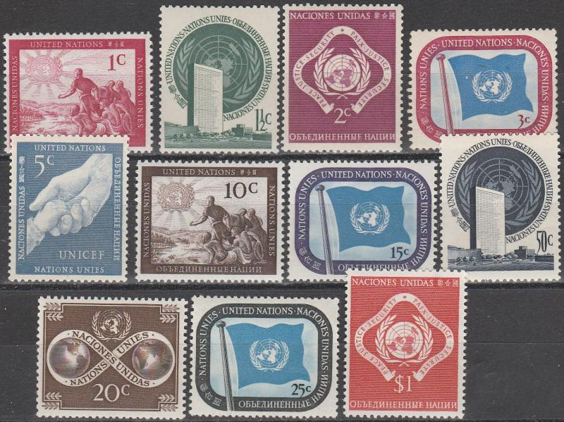 United Nations #1-11 MNH  CV $9.75 (A3216)
