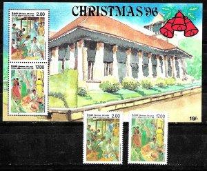 #7908 SRI LANKA(CEYLAN) 1996,ART RELIGION CHRISTMAS SET+S/SHEET YV 1110-1 BL62
