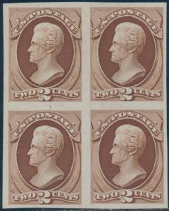 #157P3 VF-XF PLATE PROOF ON INDIA PAPER BLOCK OF4 BQ8295