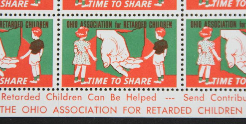 Ohio Association For Retarded Children Label Cinderella Stamp Full Sheet