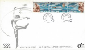COSTA RICA SUMMER OLYMPIC GAMES, ATLANTA, SWIMMERS, Sc 491 FDC 1996