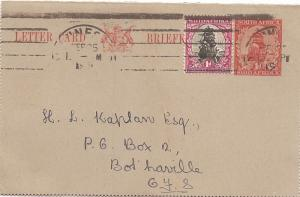 South Africa 1931 letter card uprated (bac)