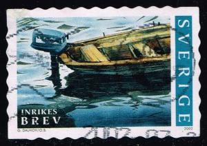 Sweden #2442d Boat with Outboard Motor; Used (1.00)