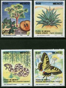 MEXICO 1324-1327, MEXICAN FLORA and FAUNA, SET OF FOUR. MINT, NH. VF.