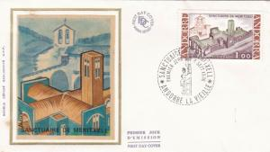 Andorra 1976 Chapel of Our Lady Meritxell Silk Unadressed FDC