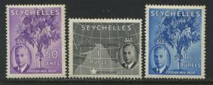Seychelles KGVI 1952 50 cents to 1.5 rupees mint o.g.