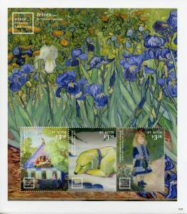 St Kitts 2016 MNH World Famous Paintings Van Gogh Renoir 3v M/S I Art Stamps