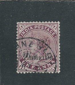 ZANZIBAR 1895-98 2½ on 1a PLUM FU SG 23 CAT £100