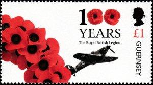 Guernsey 2021 MNH Stamp Royal British Legion RAF Aviation Airplane Poppies