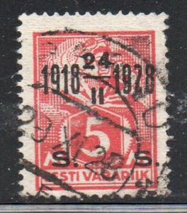 Estonia Sc 85 1928 5m surcharged 10th Anniversary stamp used