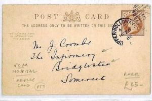 CR53 GB Som *BRIDGWATER INFIRMARY*1888 HOSPITAL Reply Postcard {samwells-covers}