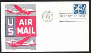 UNITED STATES FDC 7¢ US Air Mail Booklet Pane Single 1958 Ken Boll