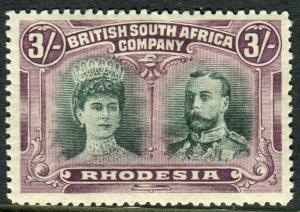 RHODESIA-1910-13 3/- Green & Violet.  A mounted mint example Sg 158a