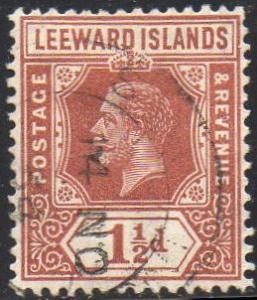 Leeward Islands 1931 1½d red-brown (Die I) used