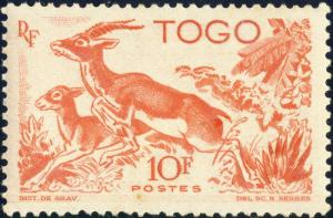 TOGO - 1947 -Yv.250 / Mi.209 10fr rouge-orange - Neuf*