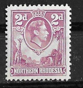 Northern Rhodesia # 33 Geo.VI  Definitive 2d. Lilac    (1) VF Unused
