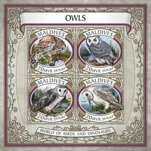MALDIVES - 2017 - Wildlife of the World : Owls - Perf 4v Sheet - MNH