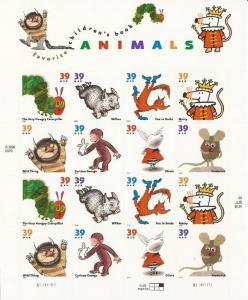 USA 2006 Children's Book Animals - 16 Stamp Sheet #3987-94