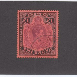BERMUDA SUPERB SG 121 VF-£1 LIGHT USED SUPERB KGV1 KEY ISSUE CV $127 or £100