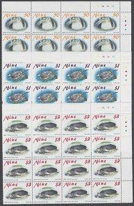 NIUE 2001 TURTLES set in plate block of 16 MNH..............................K619