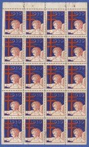 US 1939 Sc WX96a  MNH Booklet Pane of 20 Anti-TB Christmas Seals