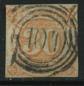 Thurn & Taxis Southern District 1859 30 kreuzer orange used with numeral 107