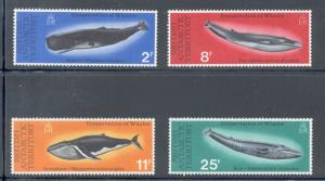 British Antarctic Terr Sc 64-7 1977 Whales stamp set mint NH