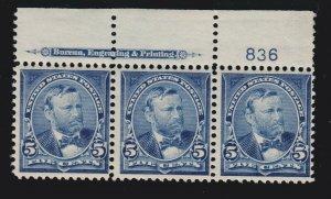 US 281 5c Grant Mint Plate #836 Strip of 3 F-VF OG NH SCV $340