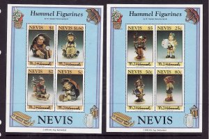 Nevis-Sc#845a-6a- id2-Unused NH sheets-Hummel Figurines-1994-