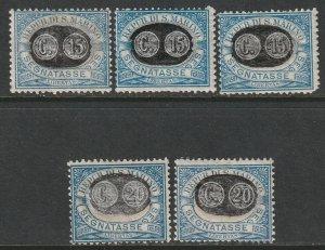 San Marino Sc J37-J40,J42 postage due partial set MH