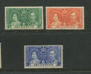 Ascension - Scott 37-38 - Coronation Issue -1937 - MVLH - Set of 3 Stamps