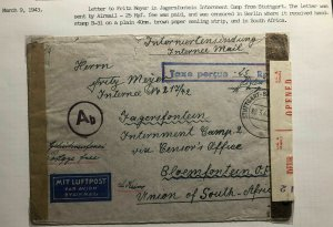 1943 Stuttgart Germany Cover To South Africa Jagersfontein Internment Camp POW