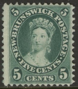 NEW BRUNSWICK 8a 1860 5c BLUE GREEN QUEEN VICTORIA UNUSED NO GUM