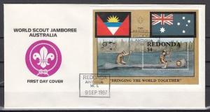 Redonda-Antigua, 1987 issue. Scout Jamboree s/sheet. First day cover. ^