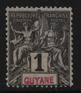French Guiana 1892/1904 Navigation & Commerce 1c (1/19) UNUSED
