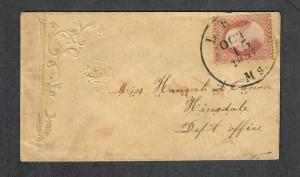 US Sc#25a Claret Oct 15 1857 CDS Ladies Cover, Cv. $1100