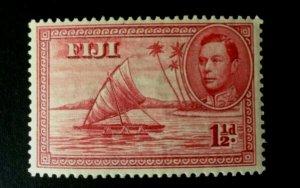 Fiji: 1938 KGVI definitive 1.5d crimson die 1, (boat without sailor) MLH