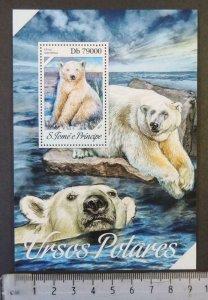St Thomas 2013 polar bears animals s/sheet mnh
