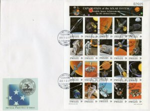 MICRONESIA 1999 EXPLORATION OF THE SOLAR SYSTEM SET OF 2 SHEET FIRST DAY COVERS