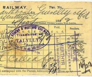 GB WALES RAILWAY Tallylyn Station Oval 1892 Taff Vale Parcel WayBill RARE BL146