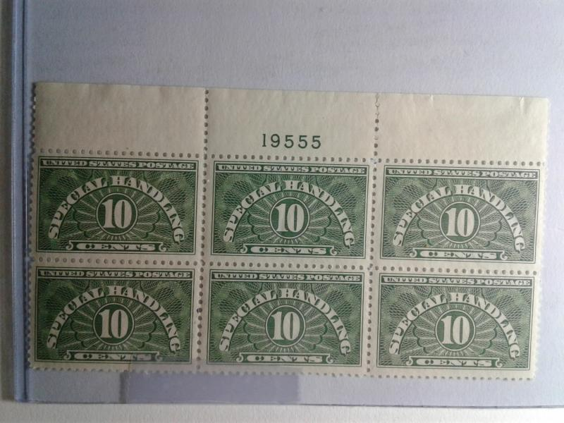 SCOTT # QE1 PLATE BLOCK OF 6 10 CENT SPECIAL HANDLING MINT NEVER HINGED GEM !!!