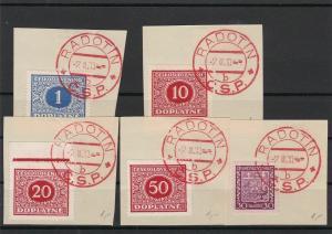 Czechoslovakia 1930 Souvenir Stamps Radotin Cancels On Piece Ref 23856