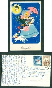 Denmark. Christmas Card 1959. Seal + 20 Ore. Aakirkeby. Girl,Dog.  Art: Ellis