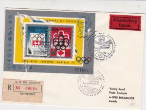 Uruguay 1976 Expres Regd Flight Airmail AUA LH507 Olympics Stamps Cover Rf 29408