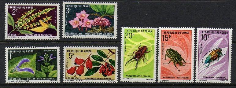 Congo 1970 Flowers Beetles VF MNH (222-8)