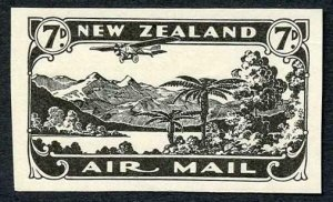 NEW ZEALAND SG550 1931 7d Air Imperf Jet black Plate Proof