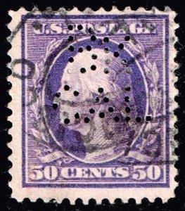 US STAMP #341 – 1909 50c Washington, violet, double line watermark PERFIN